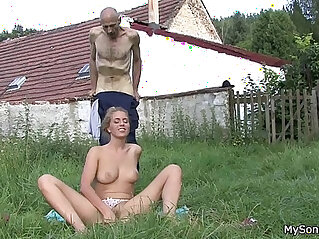 He finds his father in law licks her young pussy