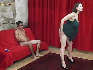 Busty amateur MILF whore seduces a shy beginner guy