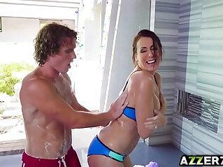 Horny stepmom Reagan Foxx hot fuck in the shower