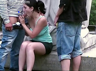 Cute ebony teen girl fucked by guys in PUBLIC in center of the city by famous statue