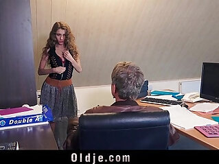 Sexy young secretary blackmails her old boss for dirty fuck and facial
