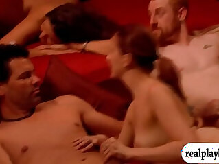 Group of swingers swap partner and orgy in the red room at orgy niche