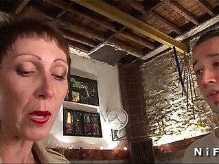 Big titted and tattooed french mature gets tight ass hammered