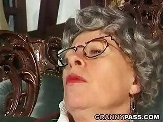 Granny Fingers Her Ass