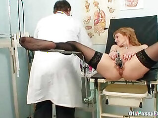 Skinny MILF gyno exam by kinky doctor