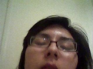 Dirty latina sucks and fucks herself with a big dildo then licks it.