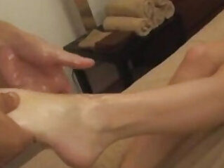 AMWF BEAUTIFUL BLONDE GETS SPECIAL MASSAGE FROM ASIAN MAN at massage niche