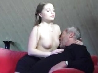 Old Young Porn Girl Fucked By Bald Grandpa in her wet perfect pussy