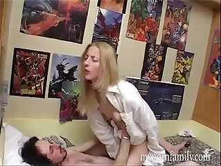 Fucking his sister who jerks off her pussy