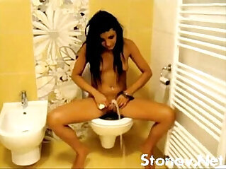 the young teen girl shows as it peeing