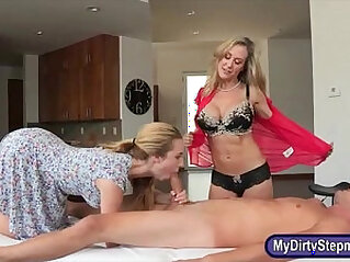 Hot milf Brandi Love nasty threeway action on massage table