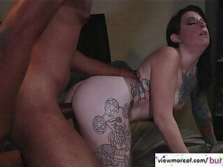 Emo and tattooed pornstar with big mamba black meaty cock and receives cumshot