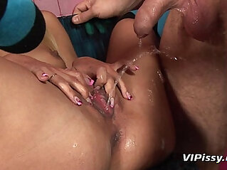 Submissive bitch drinking pee and pissed on during sex