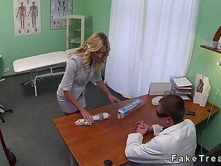 Blond sales rep fucks doctor