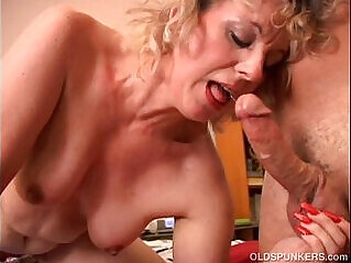 Cute Crystal is a cock for hungry old spunker who loves the taste of cum
