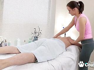 Horny little trollop fucks sucks her massage client