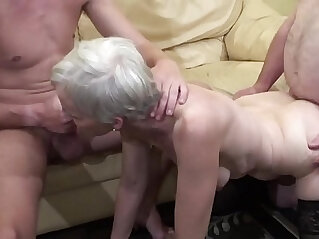 Old woman makes a threesome action with her nephew and her father