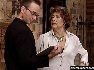 Granny seducing horny guy.