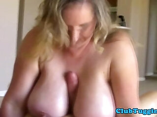 BBW mature tittyfucking his hard long mamba cock