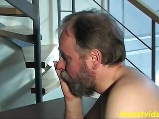 Cute blonde daughter fucks herself with father