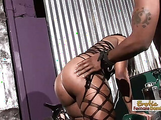 Adorable black femdom sex addict taking a mean long cock
